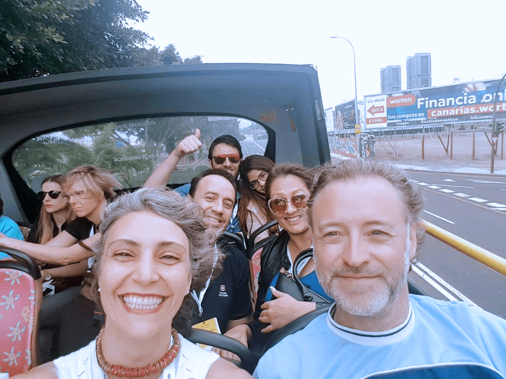 travel blogger meeting tenerife bus